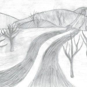 Эвелина М., 6 кл. Пейзаж (перспектива)